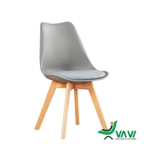 Ghế Eames chân gỗ lưng nhựa lót nệm