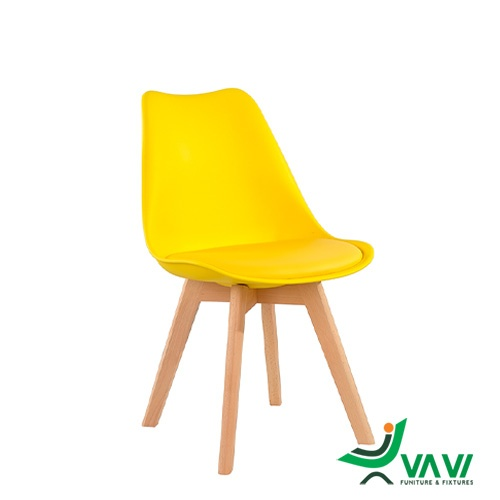 Ghế ăn ghế cafe nhựa eames có nệm chân gỗ