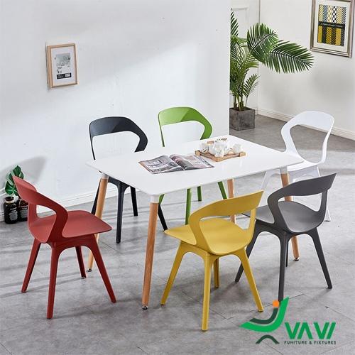 Bộ bàn ăn chữ nhật 6 ghé cafe nhựa hiện đại