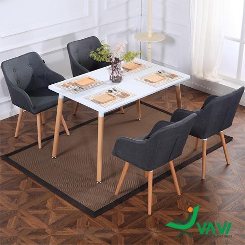Bộ bàn ghế cafe bọc vải chân gỗ