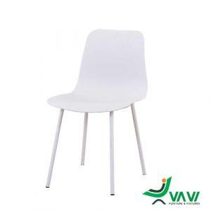 ghế ăn nhựa chân sắt hiện đại màu trắng