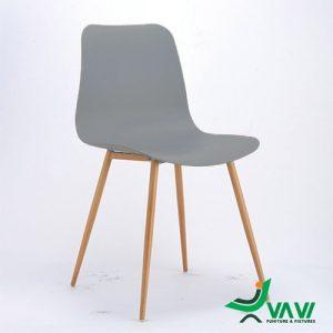 ghế ăn nhựa chân sắt màu xám