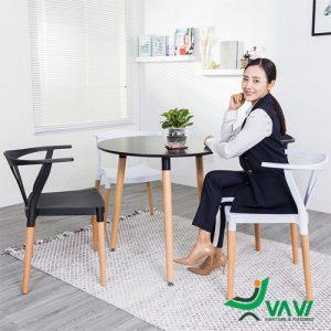 Ghế cafe nhựa chân gỗ sồi cao cấp