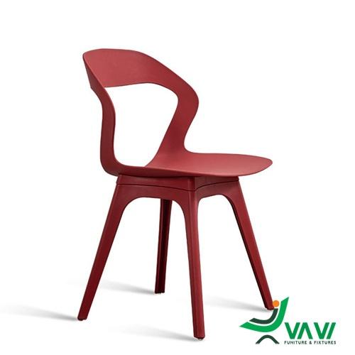 Ghế cafe nhựa hiện đại màu đỏ