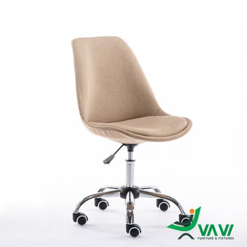 Ghế chân xoay bọc vải hiện đại màu nâu