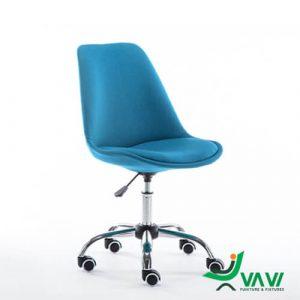 Ghế chân xoay bọc vải hiện đại màu xanh