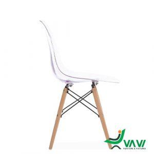 Ghế Eames trong suốt chân gỗ