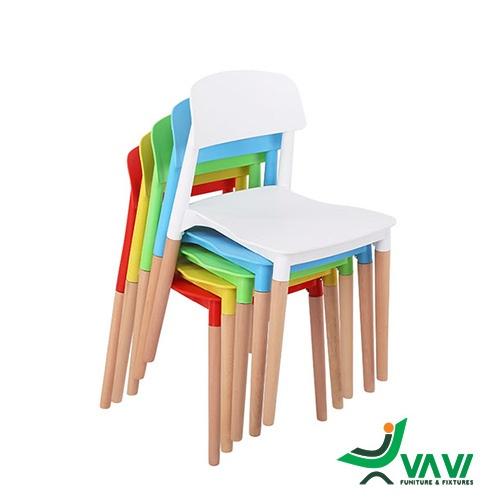 Ghế quán cafe nhựa chân gỗ