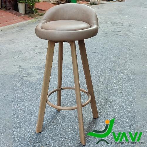 Ghế quầy bar yên da chân thép sơn giả gỗ đẹp