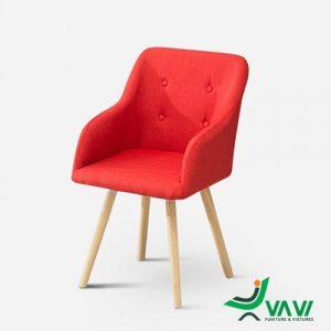 Ghế cafe bọc vải chân gỗ màu đỏ