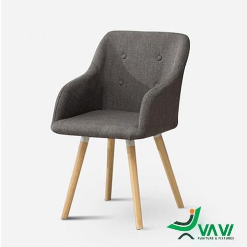 Ghế cafe bọc vải chân gỗ màu xám