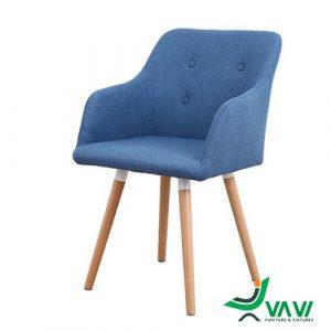 Ghế cafe bọc vải chân gỗ màu xanh