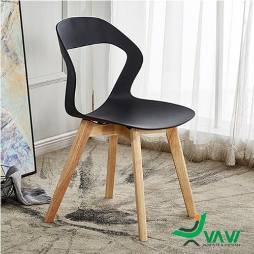 Ghế cafe chân gỗ cao cấp màu đen