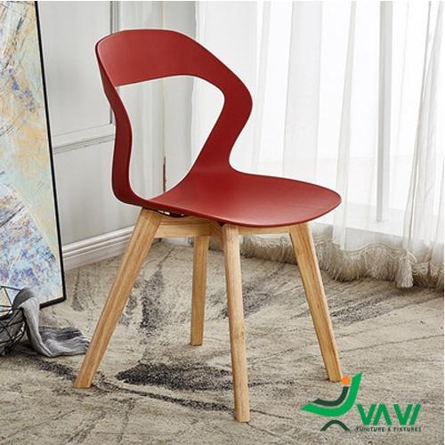 Ghế cafe chân gỗ cao cấp màu đỏ