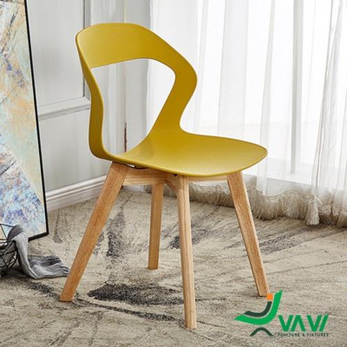 Ghế cafe chân gỗ cao cấp màu vàng