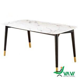bàn ăn chữ nhật mặt đá chân thép bọc ống mạ vàng
