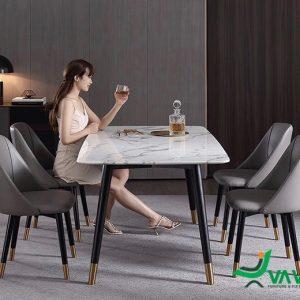 Bộ bàn ăn mặt đá ghế da Nappa
