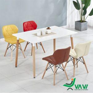 Bộ bàn ghế Eames lưng nệm tam giác phòng ăn