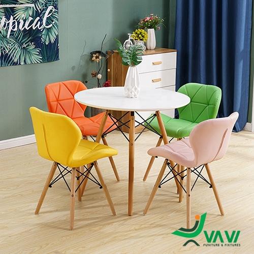 ghế ăn ghế cafe lưng nệm tam giác chân gỗ