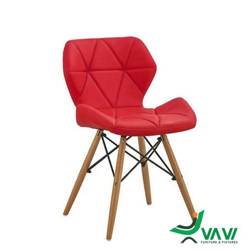 Ghế Eames lưng nệm tam giác màu đỏ