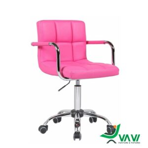 Ghế bar chân xoay da có tay vịn màu hồng