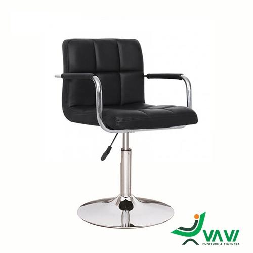 Ghế bar yên da dày chân trụ thấp có tay vịn