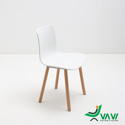 Ghế nhựa chân gỗ HAL màu trắng