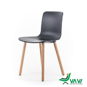 Ghế nhựa chân gỗ HAL màu đen