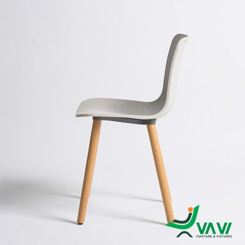 Ghế nhựa chân gỗ HAL màu xám