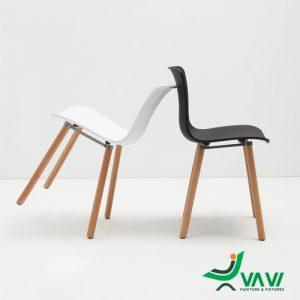 Ghế nhựa chân gỗ HAL màu đen trắng