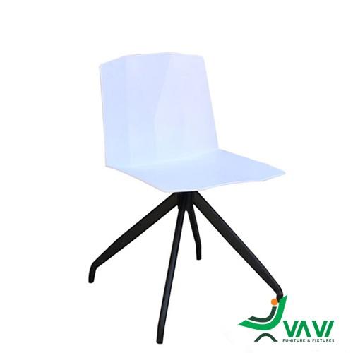 Ghế nhựa tựa lưng chân sắt màu trắng