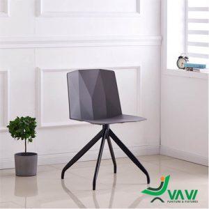 Ghế nhựa tựa lưng chân sắt màu xám
