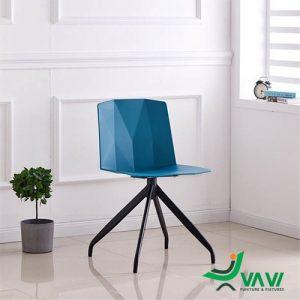Ghế nhựa tựa lưng chân sắt màu xanh