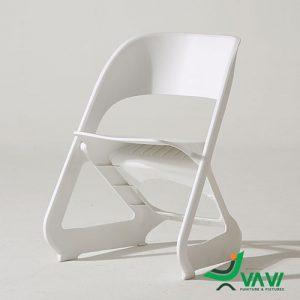 Ghế cafe nhựa xếp chồng hiện đại màu trắng