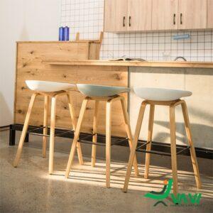 Ghế quầy bar HAY chân thép sơn giả gỗ