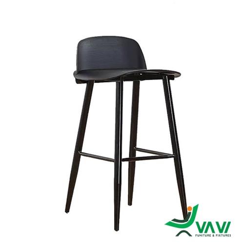 Ghế quầy bar Nerd thép yên nhựa cao cấp màu đen
