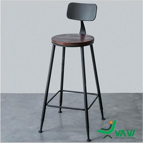 Ghế quầy bar ngoài trời chân sắt mặt gỗ giá rẻ