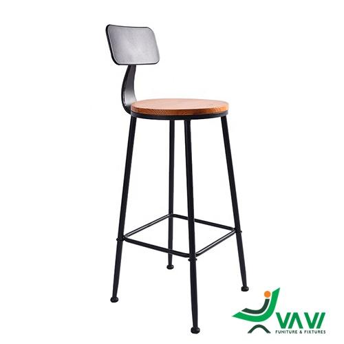 Ghế quầy bar ngoài trời chân thép mặt gỗ giá rẻ
