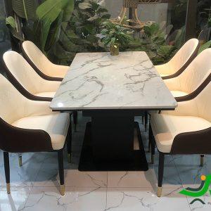 Bộ bàn 6 ghế phòng ăn Monet nhập khẩu thực tế