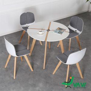 Bộ bàn ghế cafe nhựa chân gỗ hiện đại