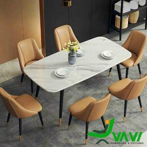 Bộ bàn ghế phòng ăn đẹp da Nappa
