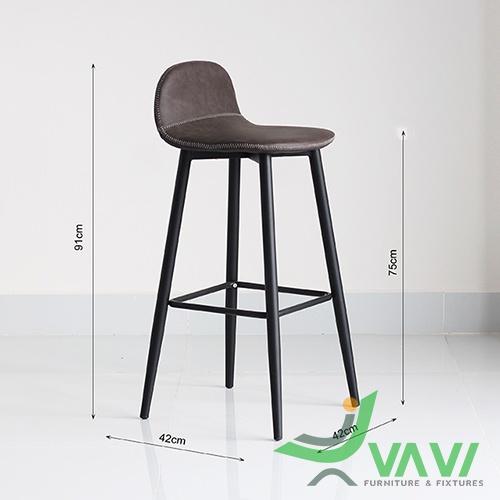 Kích thước ghế bar chân thép cố định