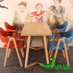 Bàn ăn mặt gỗ phủ PVC chân thép sơn giả gỗ