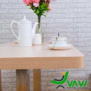 Mặt bàn ăn mặt gỗ phủ PVC chân thép sơn giả gỗ hiện đại