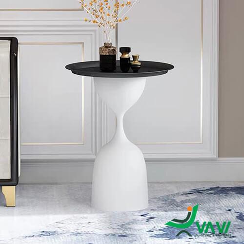 Bàn trà sofa hiện đại đế trắng mặt đen