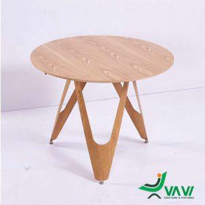 Bàn tròn mặt gỗ chân thép