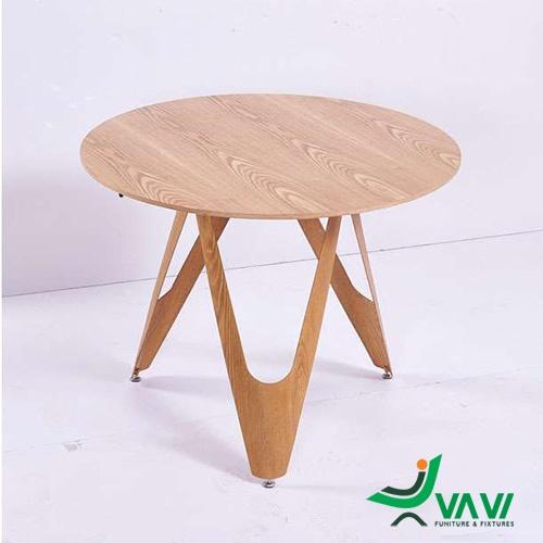 Bàn ăn tròn mặt gỗ chân thép