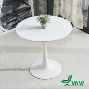 Bàn Tulip tròn mặt gỗ cao cấp màu trắng
