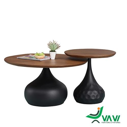 Bộ hai bàn sofa mặt gỗ veneer nhập khẩu tại hà nội