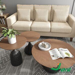 Bộ 3 bàn sofa mặt gỗ veneer sang trọng nhập khẩu